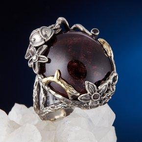 Кольцо турмалин розовый (рубеллит) Бразилия (серебро 925 пр., позолота) размер 18