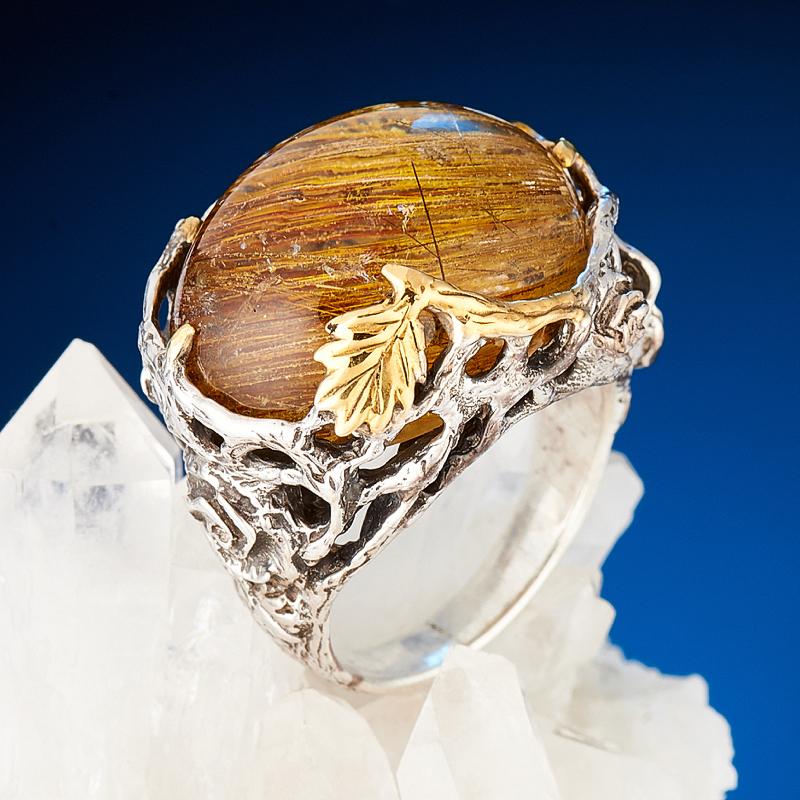 Кольцо рутиловый кварц  (серебро 925 пр., позолота) размер 18 кольцо авантюрин зеленый серебро 925 пр размер 18