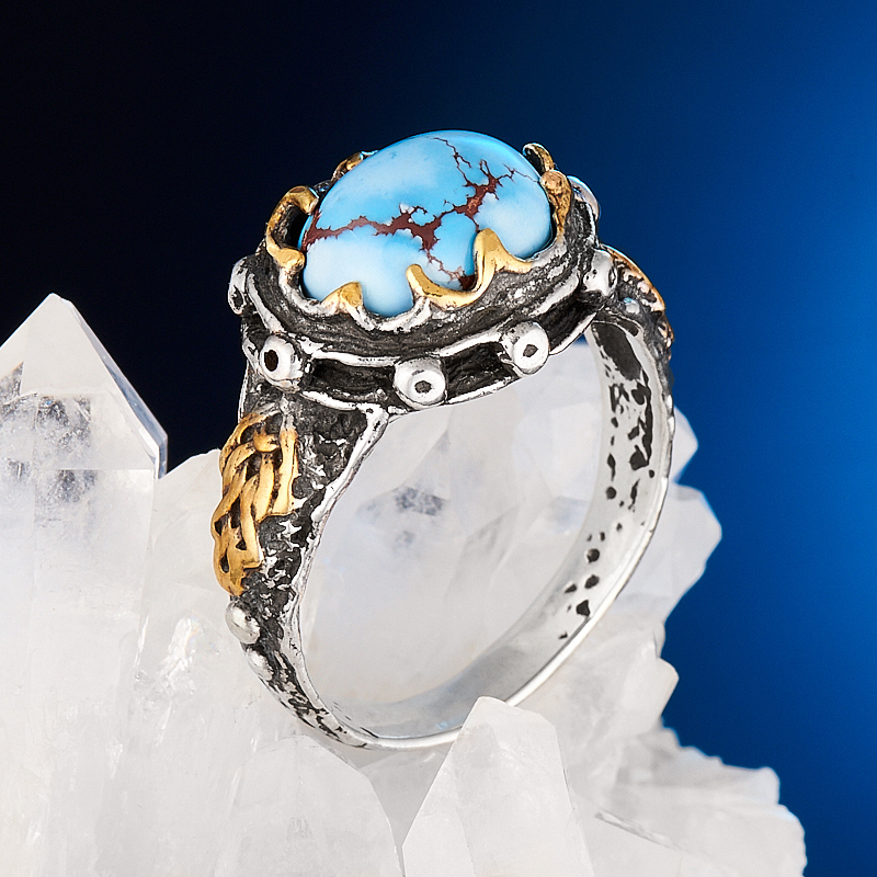 Кольцо бирюза  (серебро 925 пр., позолота) размер 18,5