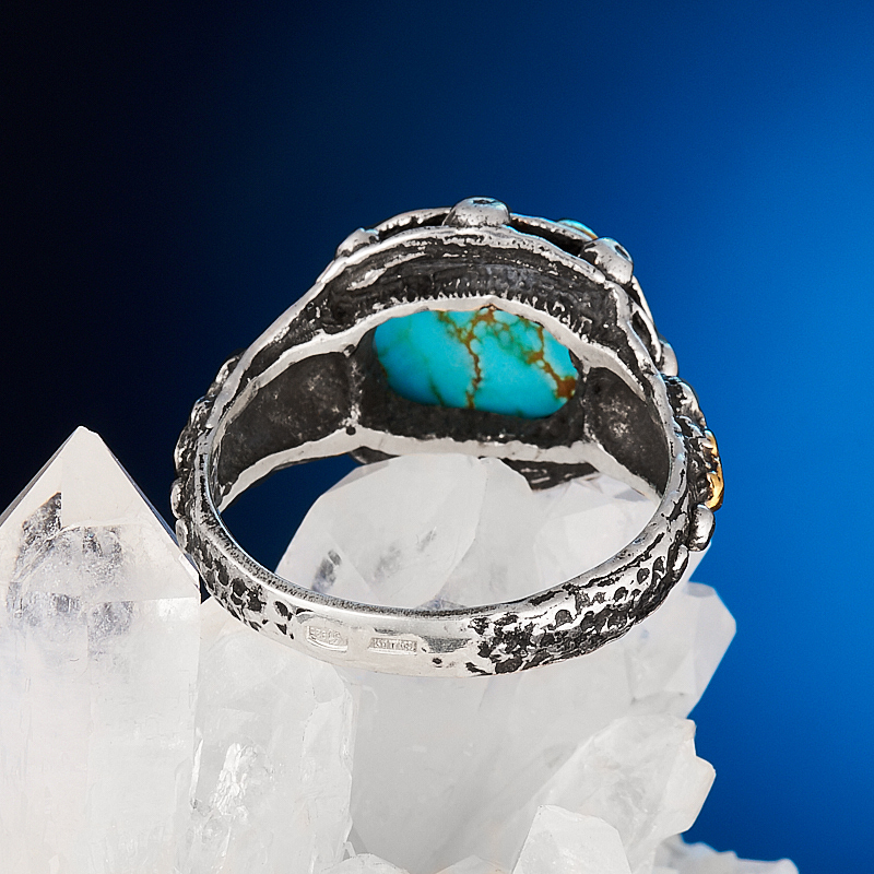 Кольцо бирюза Казахстан (серебро 925 пр., позолота) размер 18