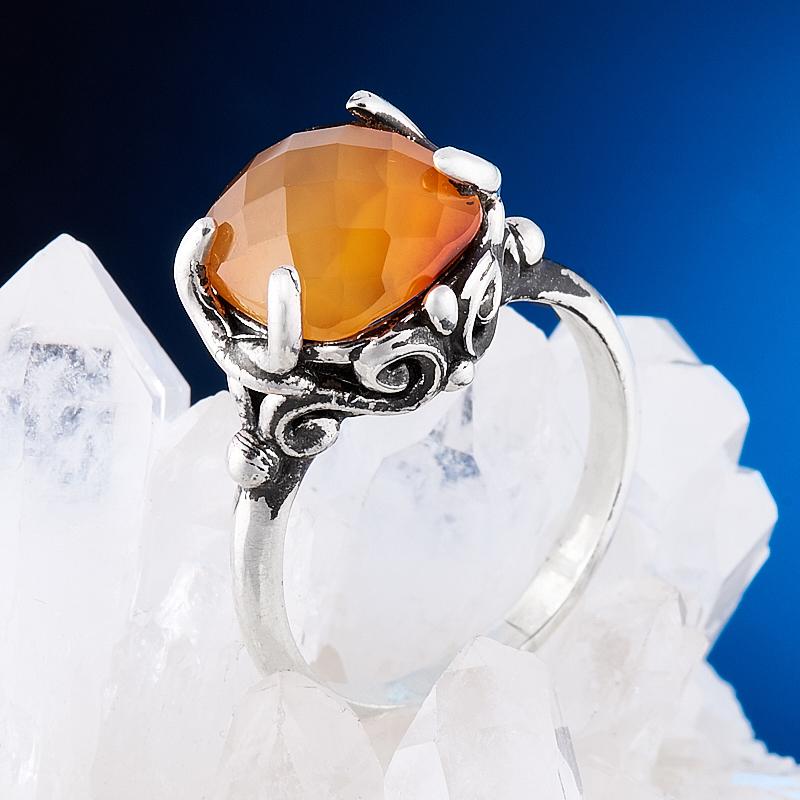 Кольцо сердолик  огранка (серебро 925 пр.) размер 17
