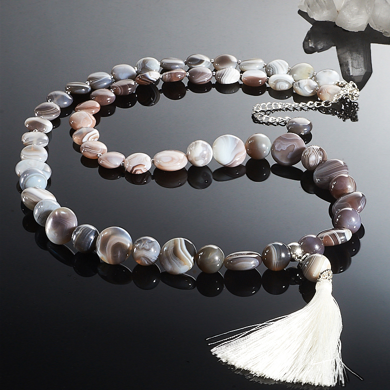 Бусы длинные агат серый  (сотуар) 78-87 см