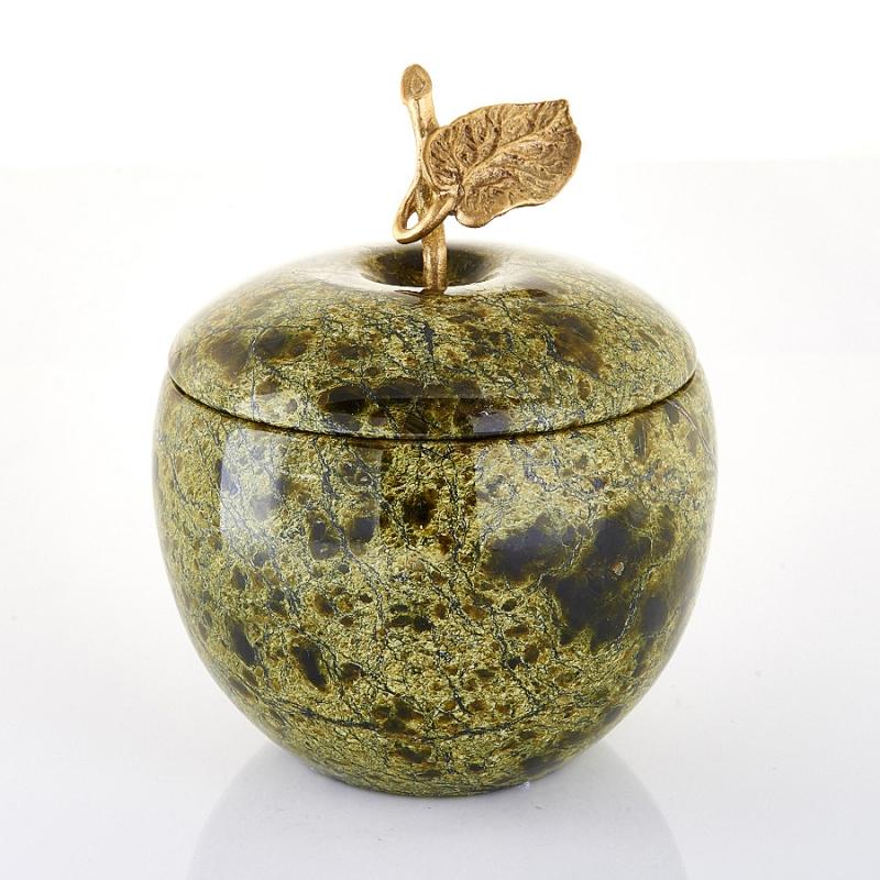 Шкатулка змеевик яблоко  70х65 мм
