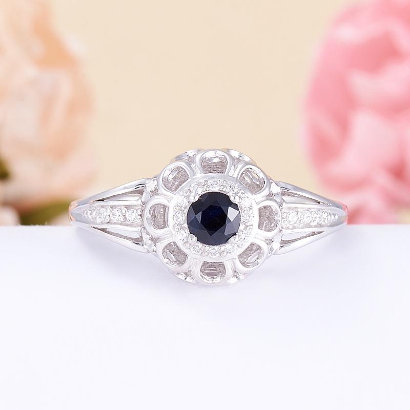 Кольцо сапфир черный  огранка (серебро 925 пр.) размер 18,5 кольцо авантюрин зеленый серебро 925 пр размер 18