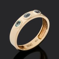 Кольцо микс александрит, турмалин огранка (золото 585 пр.) размер 18