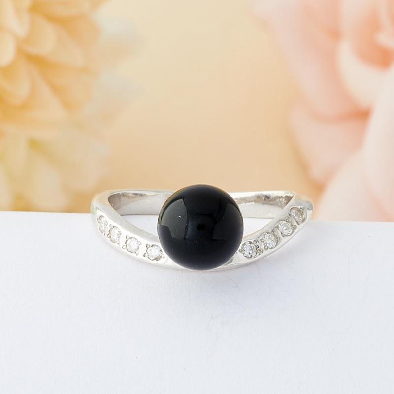 Кольцо агат черный  (серебро 925 пр.) размер 16,5