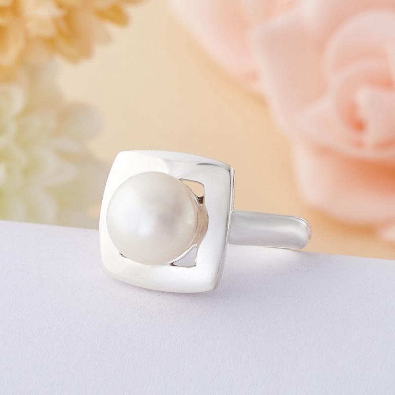 Кольцо жемчуг белый  (серебро 925 пр.) размер 17