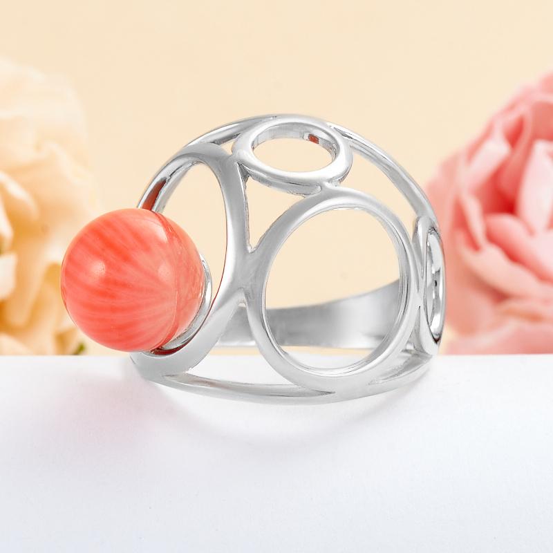 Кольцо коралл розовый  (серебро 925 пр.) размер 19