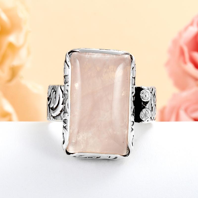 Кольцо розовый кварц (серебро 925 пр.) размер 19 бусики колечки кольцо лаватера розовый кварц арт ск 4986