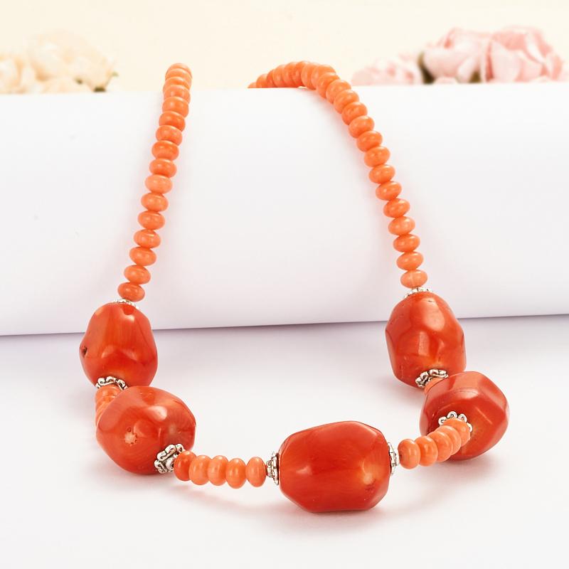 Бусы коралл оранжевый  54-64 см