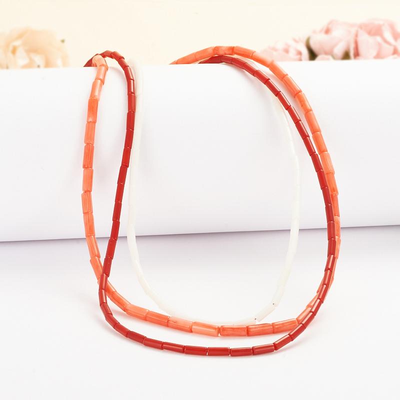 Бусы коралл белый, красный, розовый  43-53 см