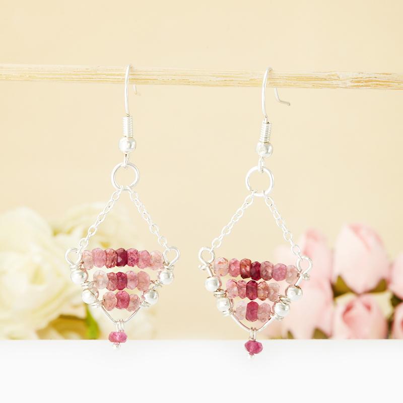Серьги турмалин розовый (рубеллит)  огранка