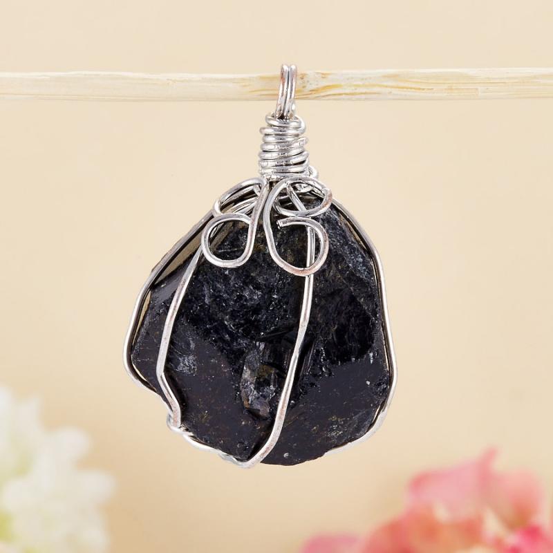 Кулон кристалл черный турмалин (шерл)  2,5-3 см