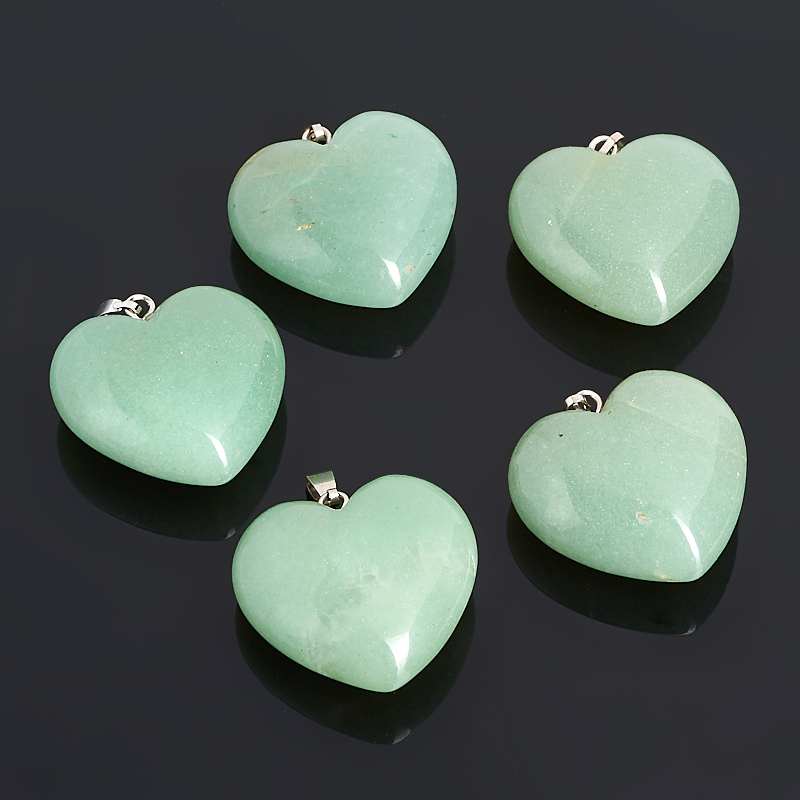 Кулон сердечко авантюрин зеленый 3 см недорого