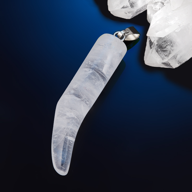 Кулон клык горный хрусталь  4,5 см