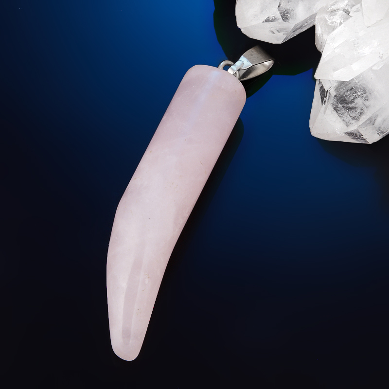 Кулон клык розовый кварц  4,5 см
