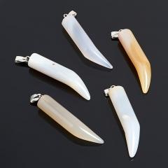 Кулон клык агат серый Ботсвана 4,5 см