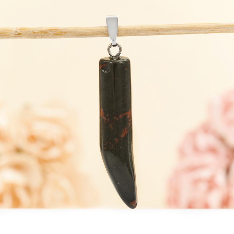 Кулон клык обсидиан коричневый  4,5 см