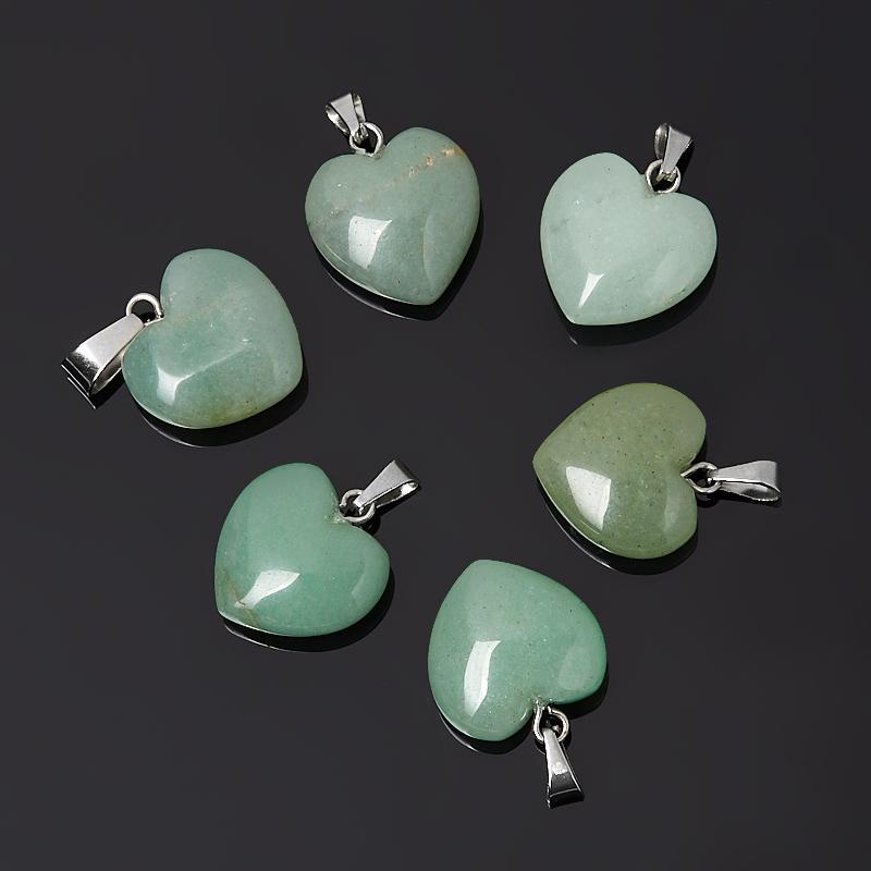 Кулон авантюрин зеленый сердечко (биж. сплав) 2-2,5 см
