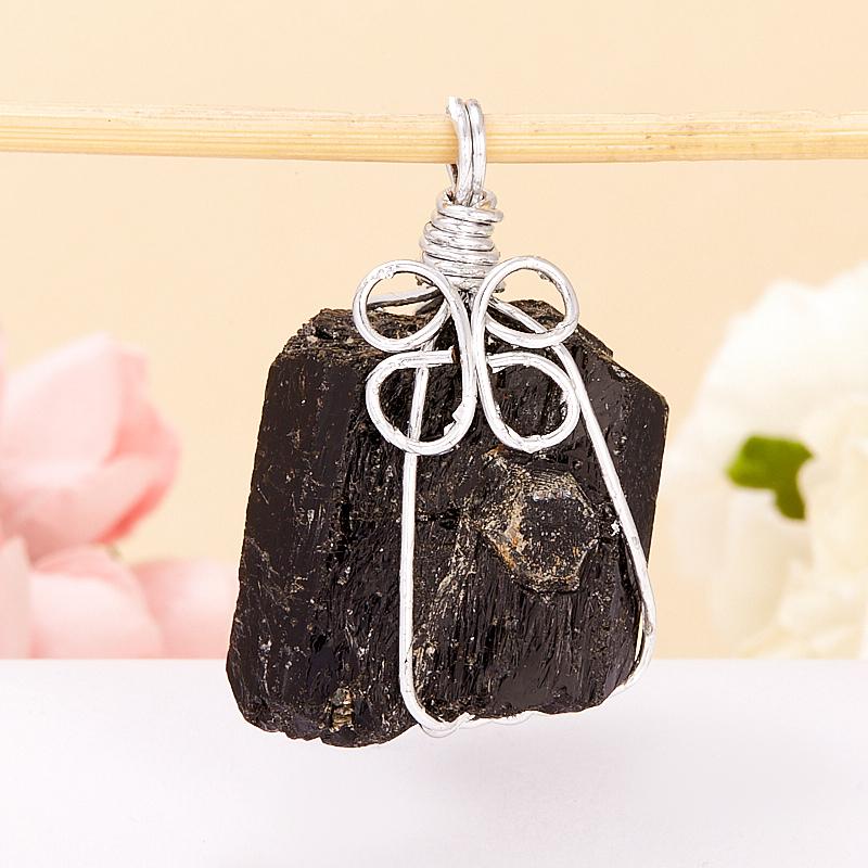Кулон кристалл турмалин черный (шерл)