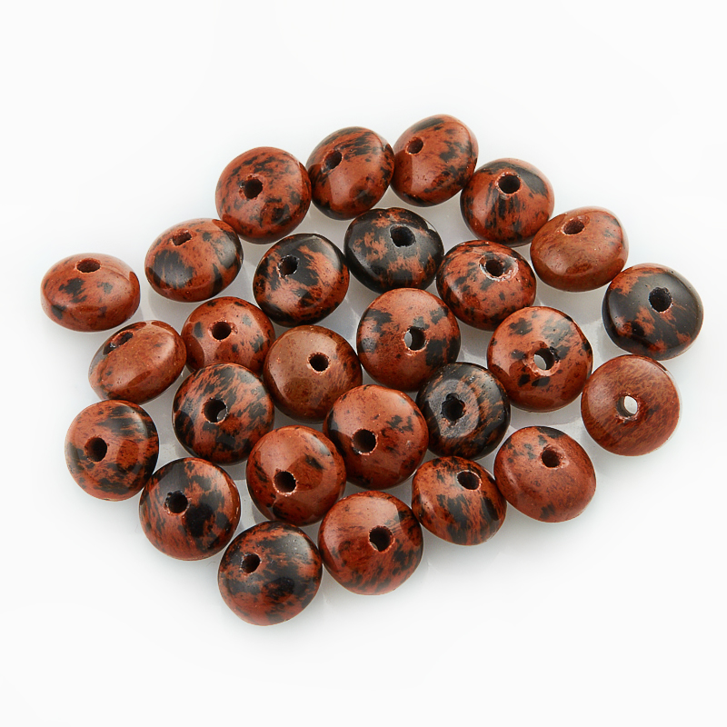 Бусина обсидиан коричневый  сплюснутый шар 6,5 мм (1 шт)