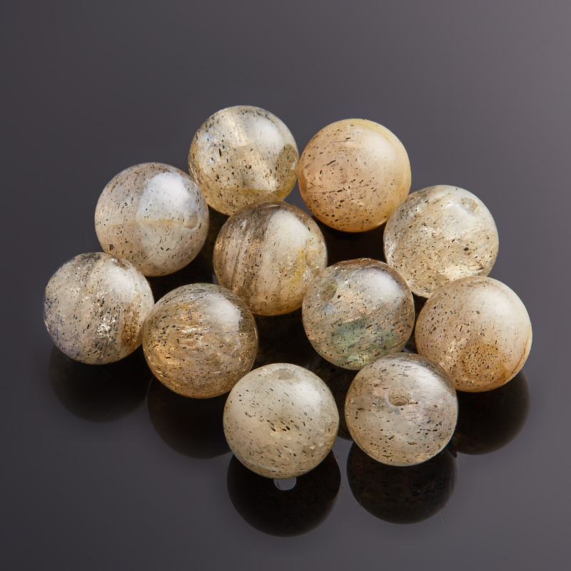 Бусина лабрадор  шарик 6-6,5 мм (1 шт) бусина авантюрин зеленый сплюснутый шар 6 6 5 мм 1 шт
