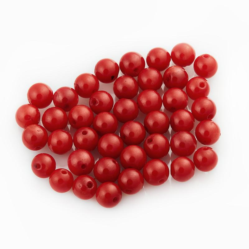 Бусина коралл красный  шарик 5 мм (1 шт)
