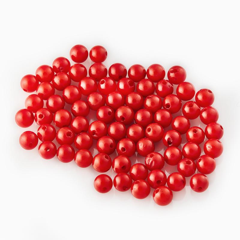 Бусина коралл красный  шарик 3,5-4 мм (1 шт) бусина коралл розовый шарик 6 мм 1 шт
