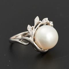 Кольцо жемчуг белый Гонконг (серебро 925 пр. родир. бел.) размер 18