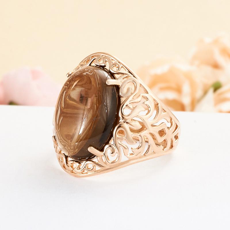 Кольцо раухтопаз  (серебро 925 пр., позолота) размер 18