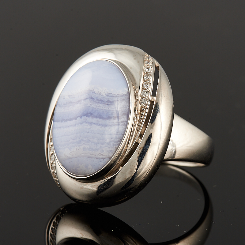 Кольцо агат голубой  (серебро 925 пр.) размер 19 серьги агат серый серебро 925 пр