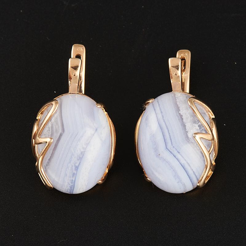 Серьги агат голубой  (серебро 925 пр., позолота)