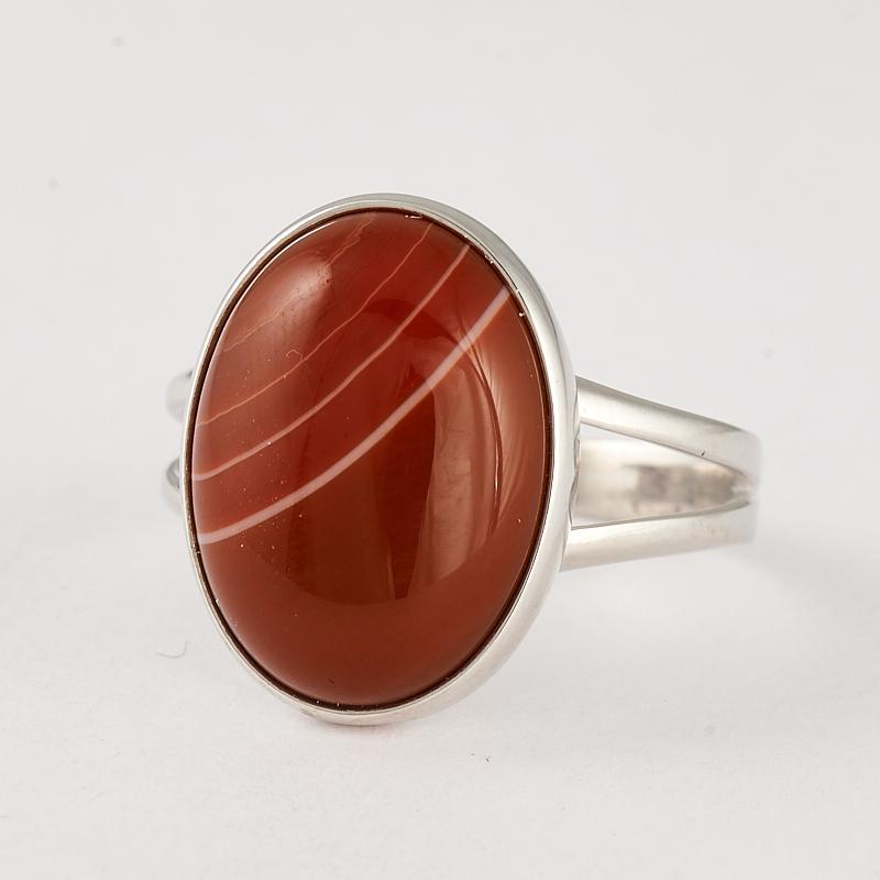 Кольцо агат красный  (серебро 925 пр.) размер 18