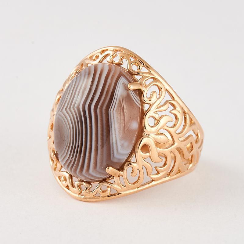 Кольцо агат серый  (серебро 925 пр., позолота) размер 17,5