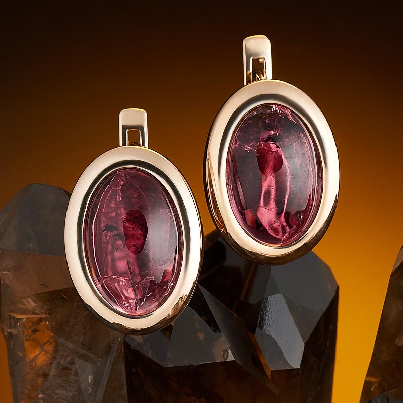 Серьги турмалин розовый (рубеллит)  (золото 585 пр.) кабошон турмалин розовый 14 23 мм