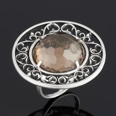 Кольцо раухтопаз Бразилия огранка (серебро 925 пр.) размер 17