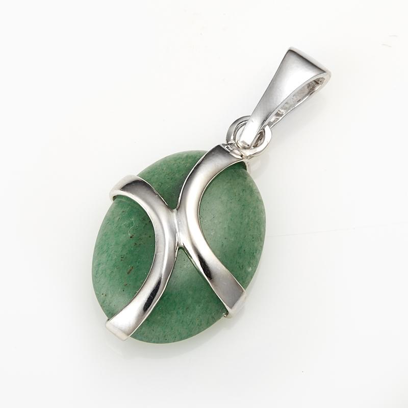 Кулон авантюрин зеленый  (серебро 925 пр.)