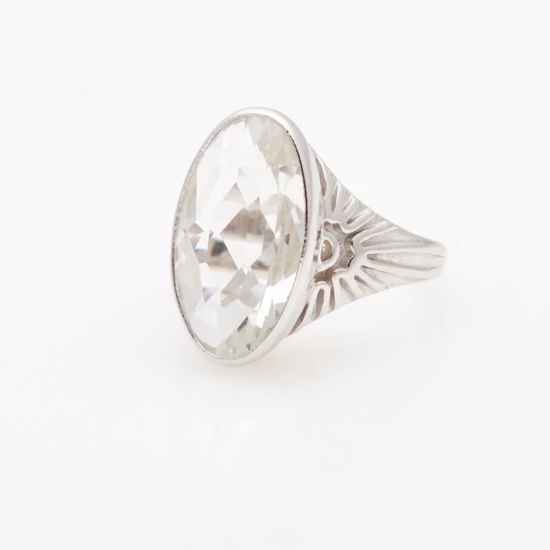 Кольцо горный хрусталь  огранка (серебро 925 пр.) размер 19,5