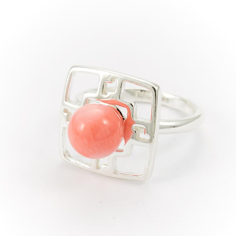 Кольцо коралл розовый  (серебро 925 пр.) размер 18