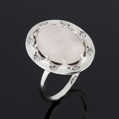 Кольцо розовый кварц Намибия (серебро 925 пр.) размер 18