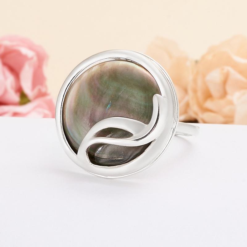 Кольцо перламутр коричневый  (серебро 925 пр.) размер 20,5