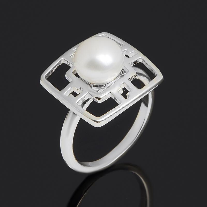 Кольцо жемчуг белый Гонконг (серебро 925 пр.) размер 18