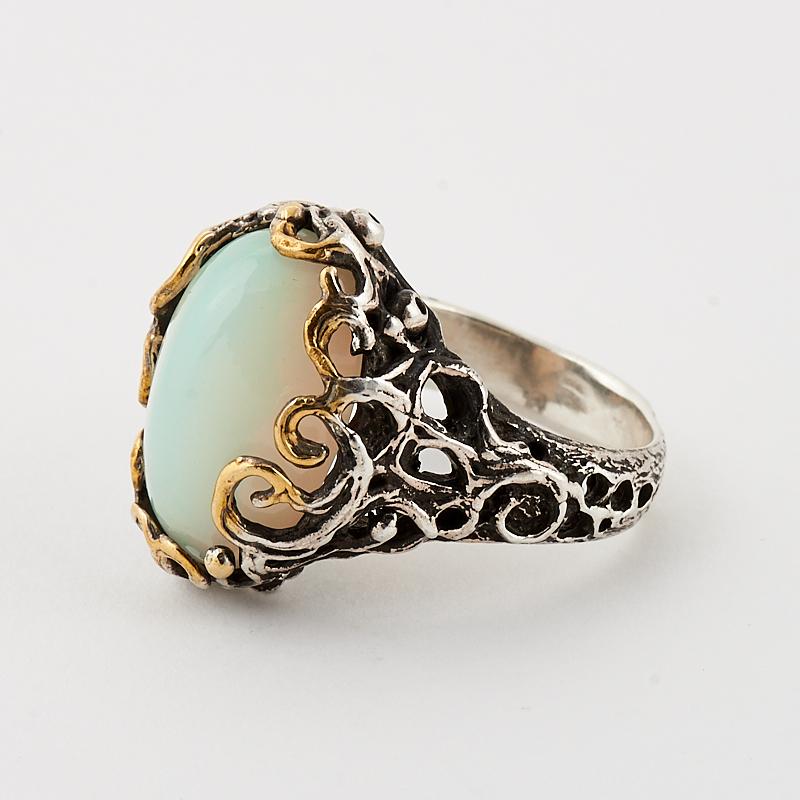 Кольцо опал благородный белый  (серебро 925 пр., позолота) размер 16