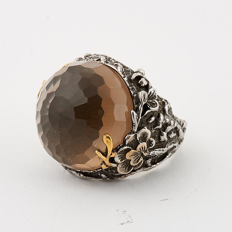Кольцо раухтопаз  огранка (серебро 925 пр., позолота) размер 19