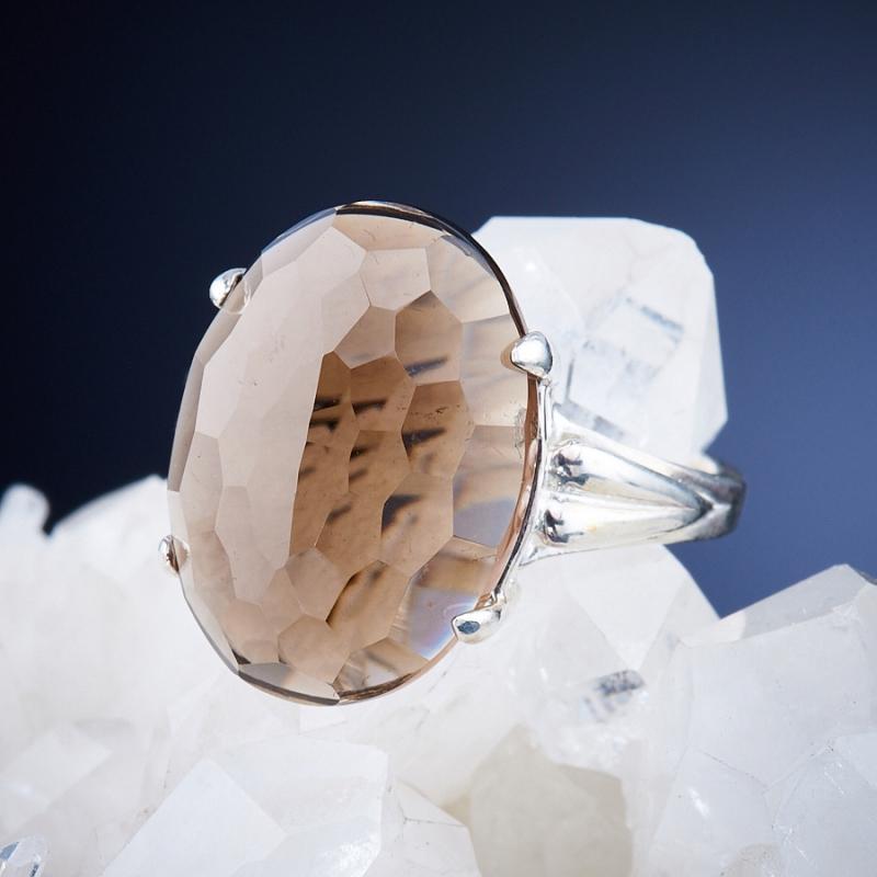 Кольцо раухтопаз  огранка (серебро 925 пр.) размер 17