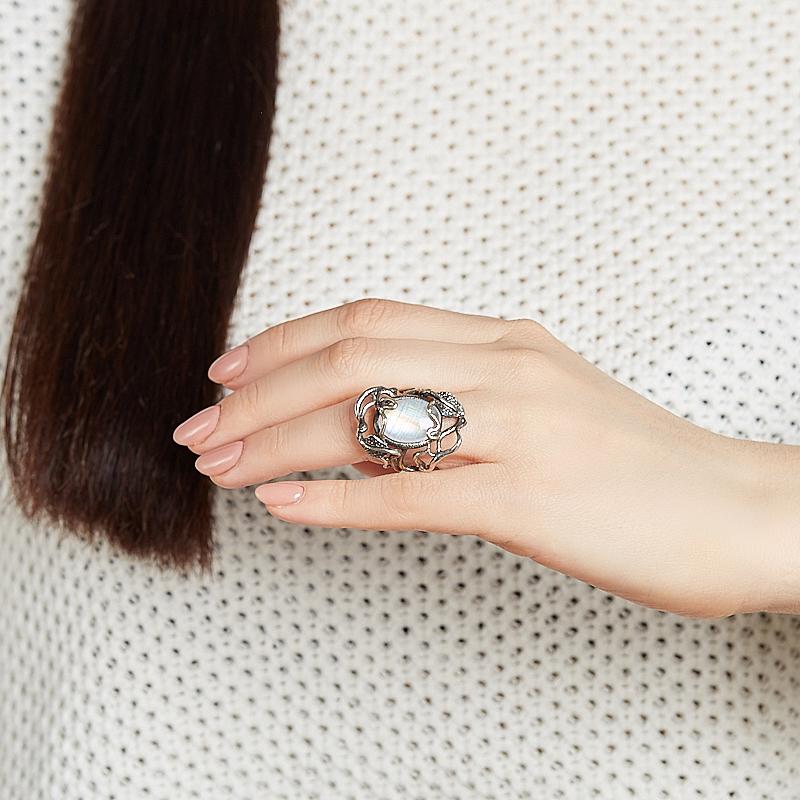 Кольцо лунный камень Индия (серебро 925 пр., позолота) размер 18,5