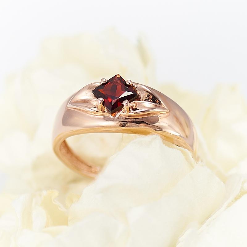 Кольцо гранат альмандин  огранка (серебро 925 пр., позолота) размер 15,5