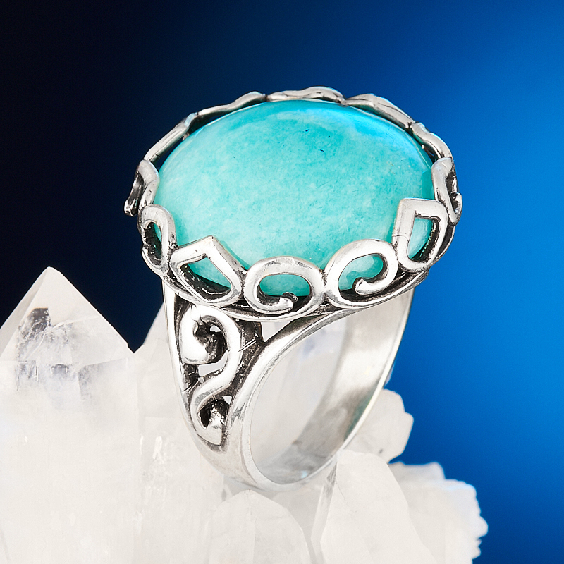 Кольцо амазонит  (серебро 925 пр.) размер 17,5