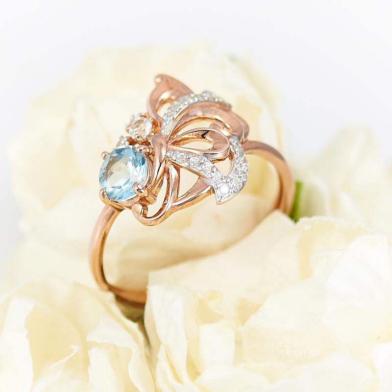 Кольцо топаз голубой огранка (серебро 925 пр., позолота) размер 17 кольцо коюз топаз кольцо т147018035