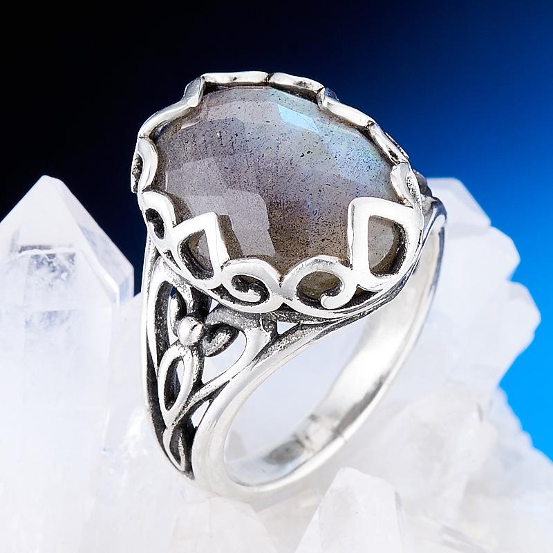 Кольцо лабрадор  огранка (серебро 925 пр.) размер 17